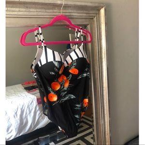 BNWT Cute Orange Print One Piece Swim Suit